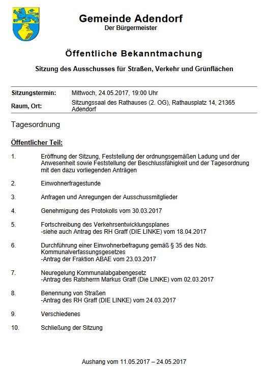 Sitzung des Ausschusses für Straßen, Verkehr und Grünflächen vom 24.05.2017