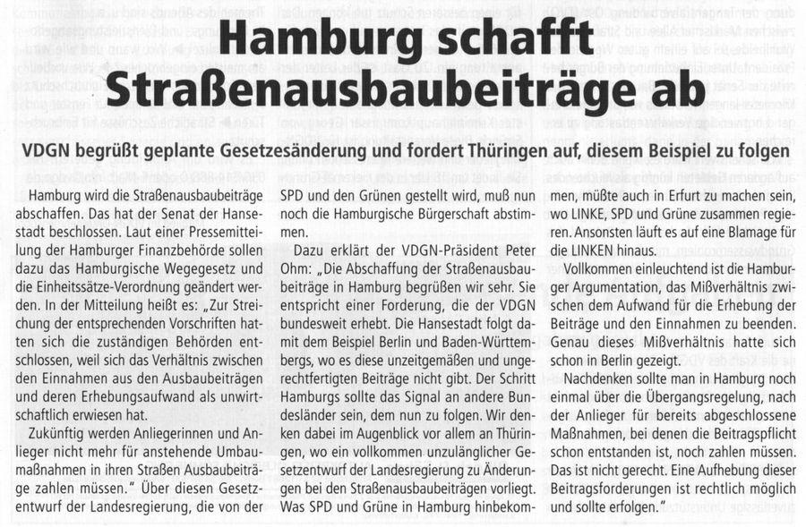 Hamburg schafft Straßenausbaubeiträge ab
