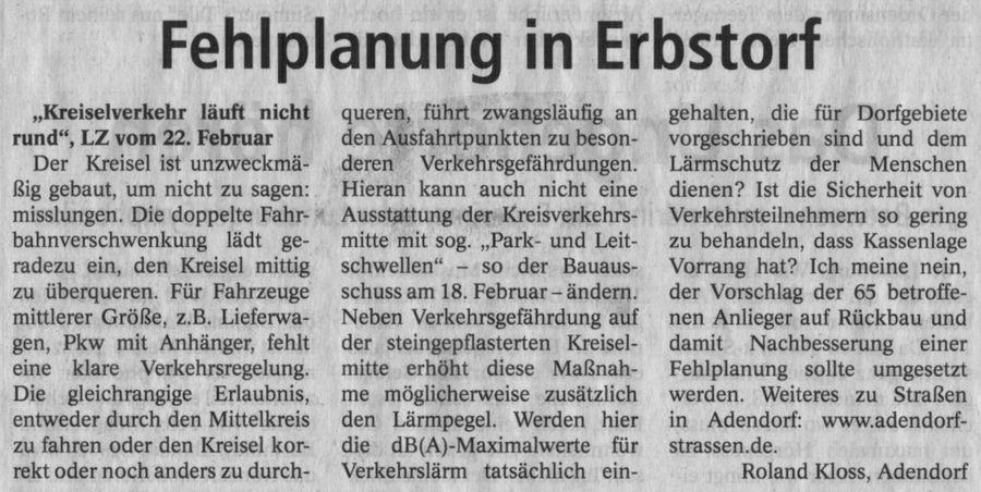 Fehlplanung in Erbstorf
