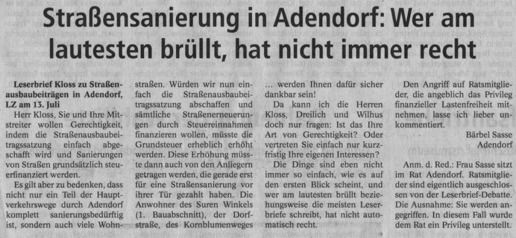 Straßensanierung in Adendorf: Wer am lautesten brüllt, hat nicht immer recht