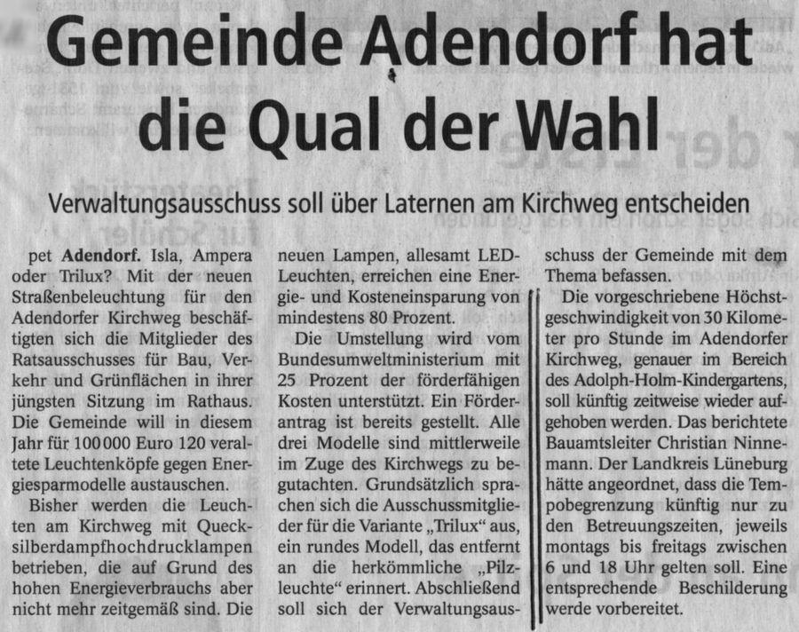 Gemeinde Adendorf hat die Qual der Wahl