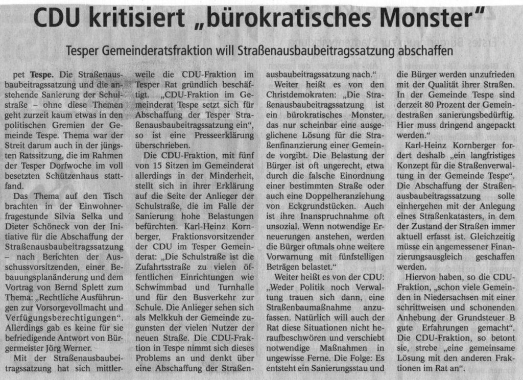 """CDU kritisiert """"bürokratisches Monster"""""""