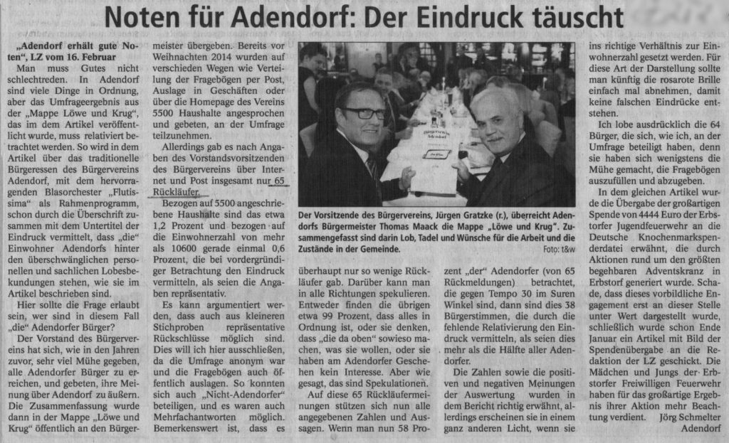 Noten für Adendorf: Der Eindruck täuscht