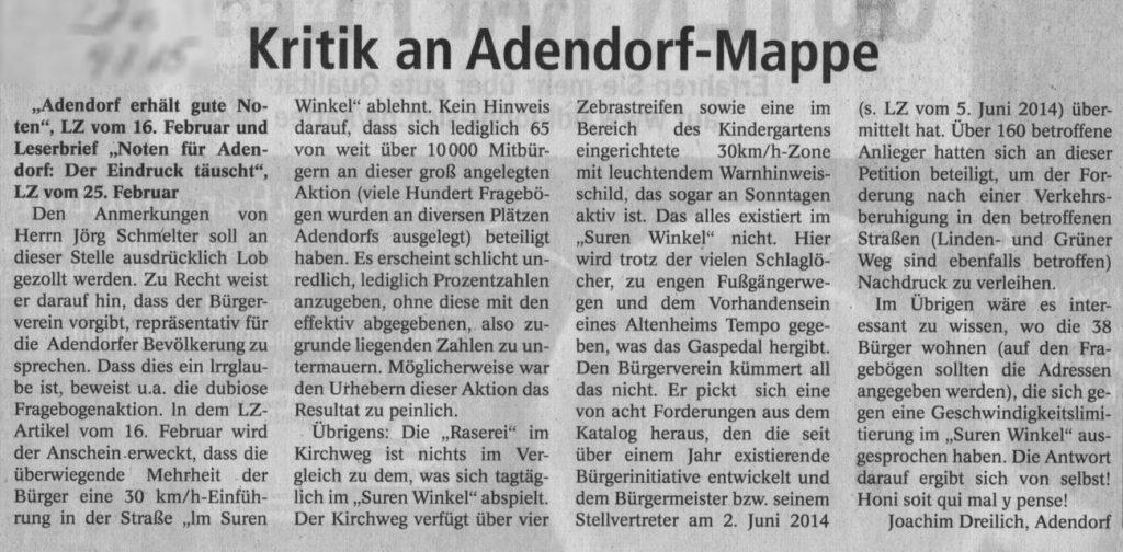 Kritik an Adendorf-Mappe