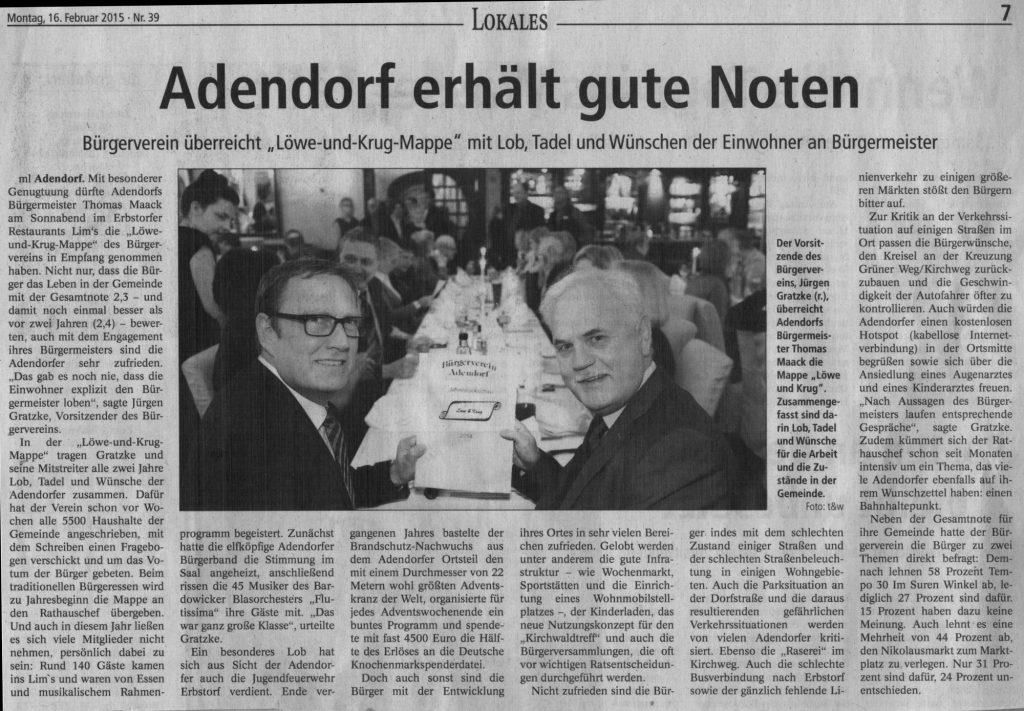Adendorf erhält gute Noten