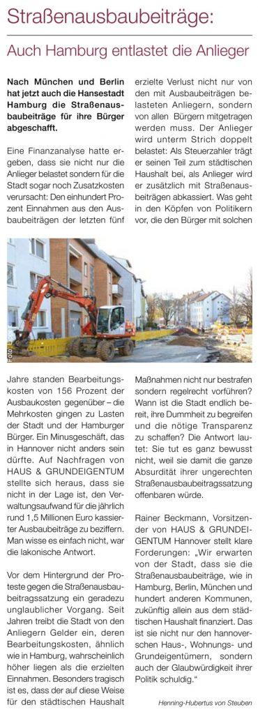 Straßenausbaubeiträge: Auch Hamburg entlastet die Anlieger