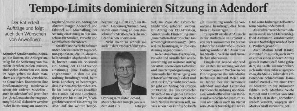 Tempo-Limits dominieren Sitzung in Adendorf