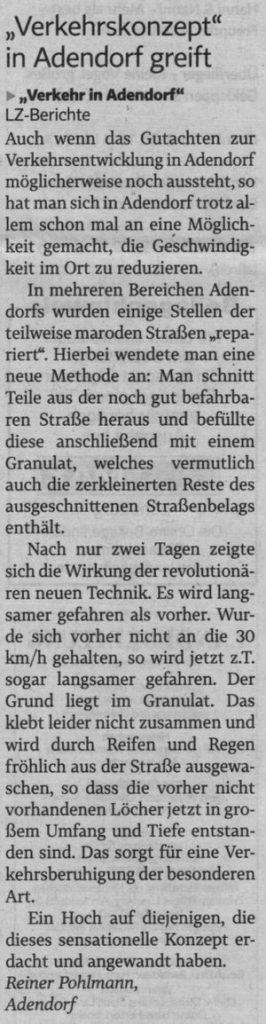 """Verkehrskonzept"" in Adendorf greift"