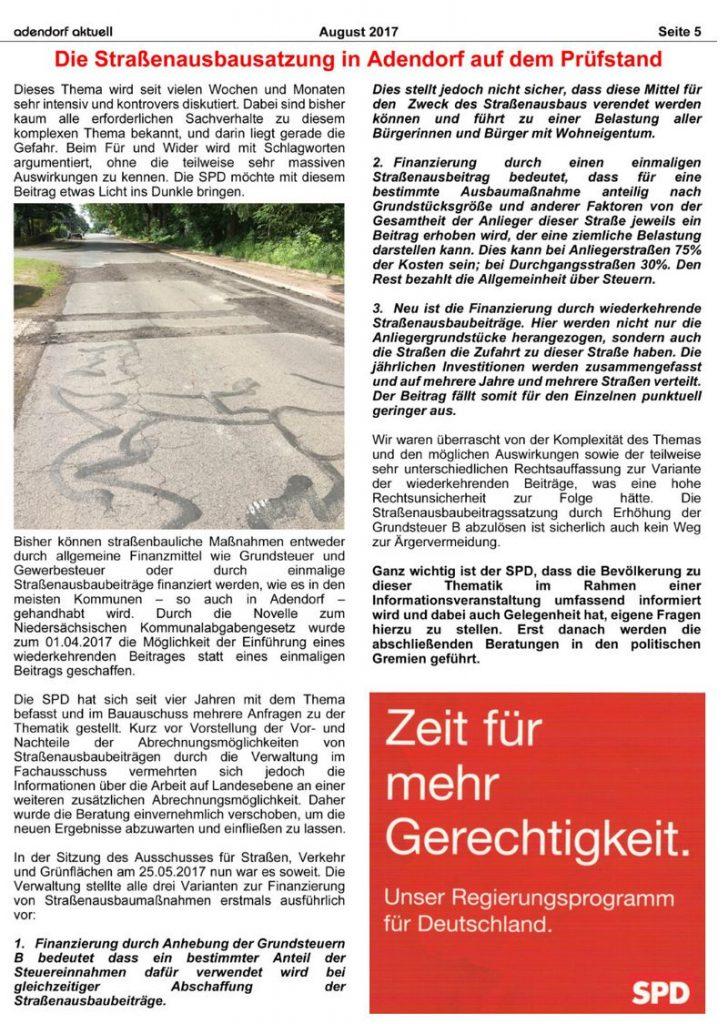 Die Straßenausbausatzung in Adendorf auf dem Prüfstand