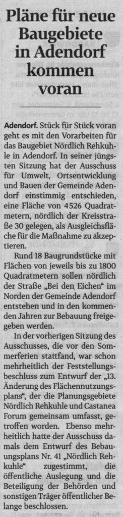 Pläne für neue Baugebiete in Adendorf kommen voran (1)