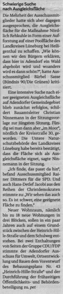 Pläne für neue Baugebiete in Adendorf kommen voran (2)