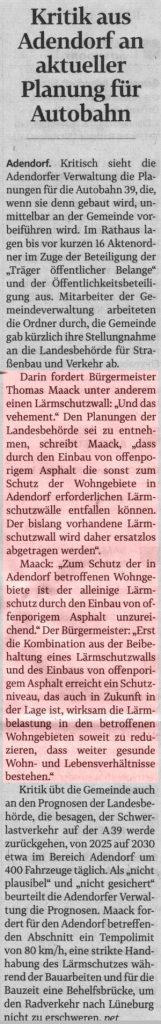 Kritik aus Adendorf an aktueller Planung für Autobahn