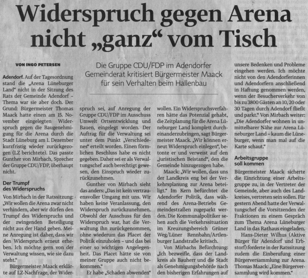 """Widerspruch gegen Arena nicht """"ganz"""" vom Tisch"""