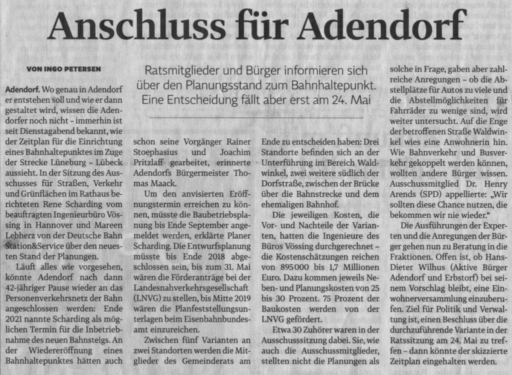 Anschluss für Adendorf