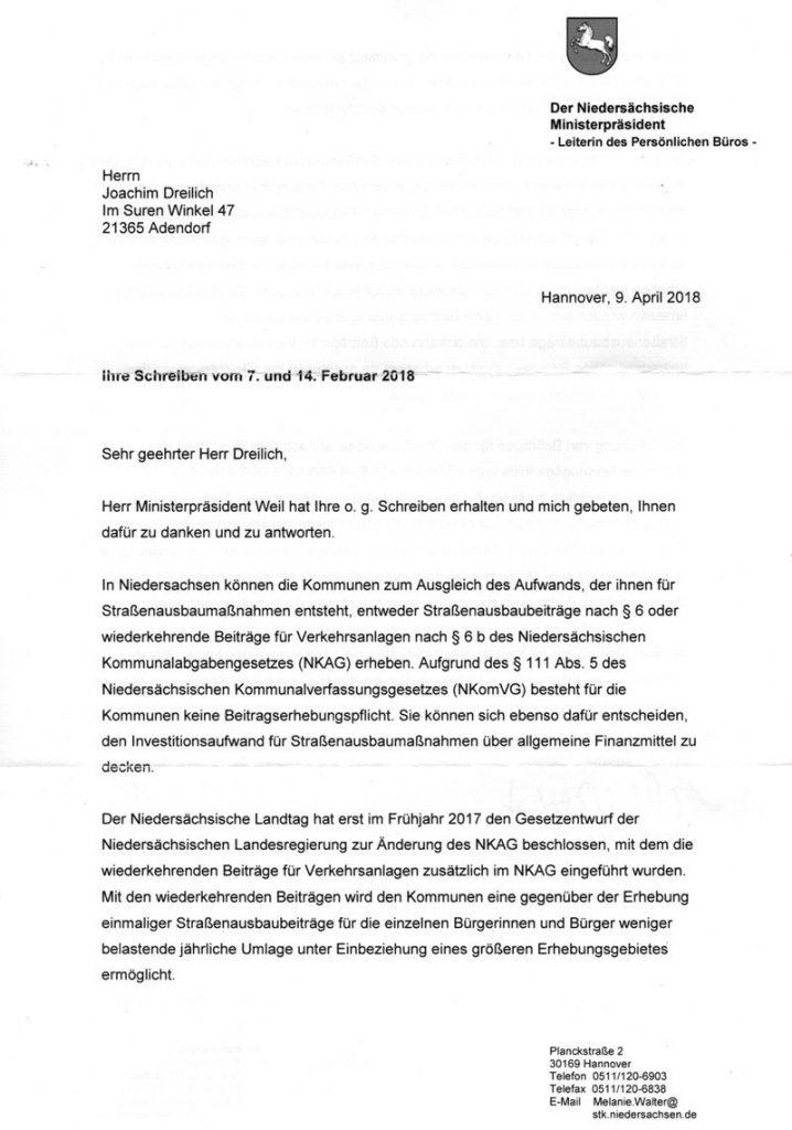 Antwort des MP Weil vom 09.04.2018