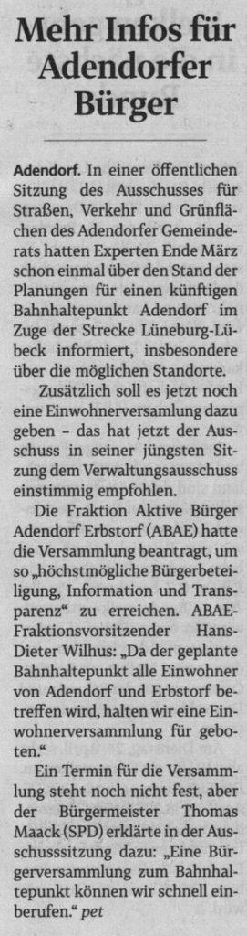 Mehr Infos für Adendorfer Bürger