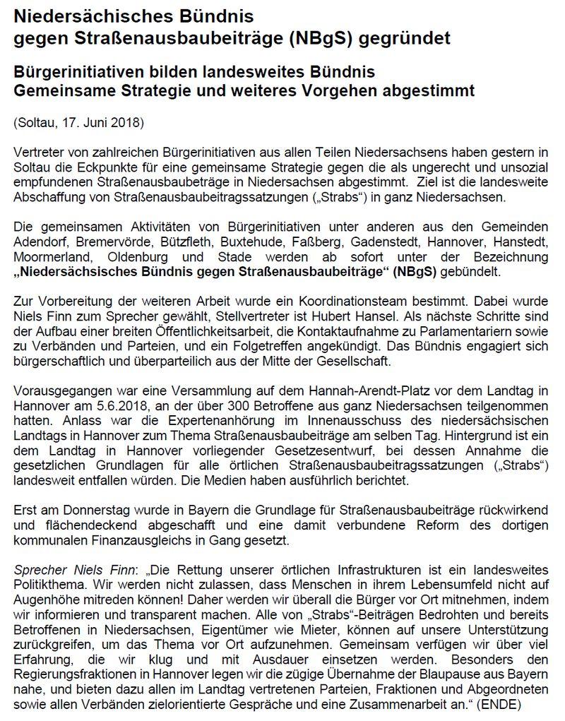 Niedersächsisches Bündnis gegen Straßenausbaubeiträge (NBgS) gegründet