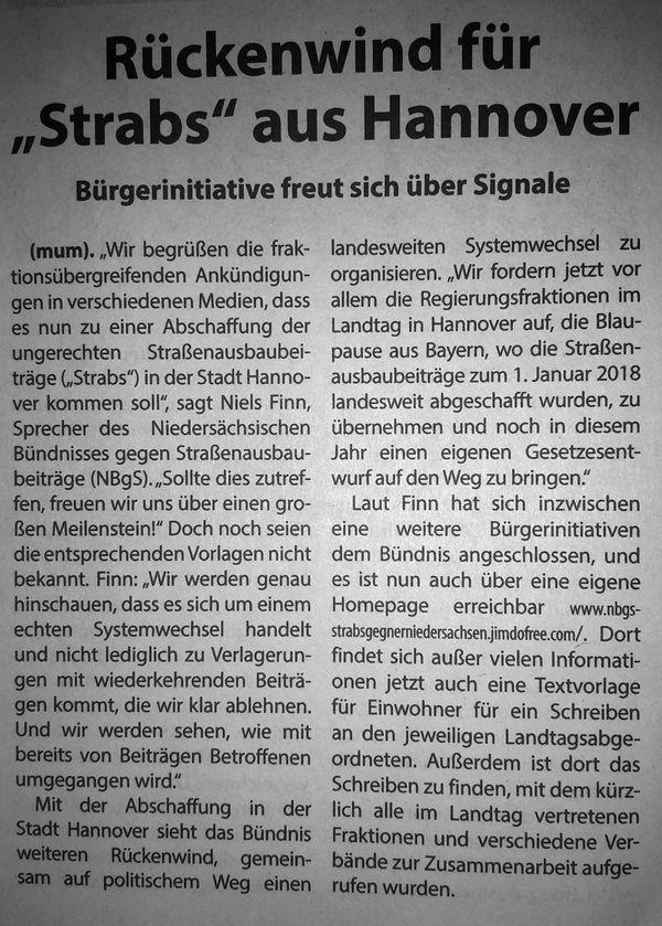 """Rückenwind für """"Strabs"""" aus Hannover"""
