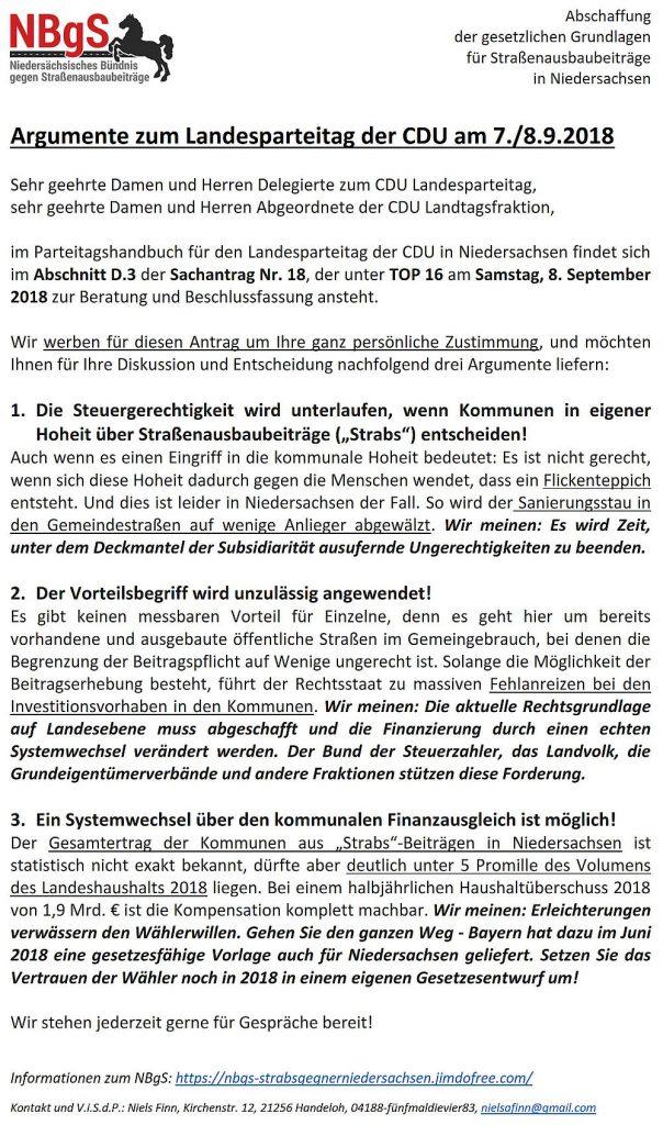 Argumente zum Landesparteitag der CDU am 7./8.9.2018