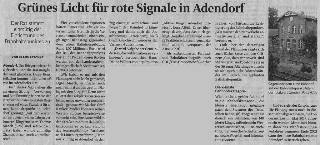 Grünes Licht für rote Signale in Adendorf