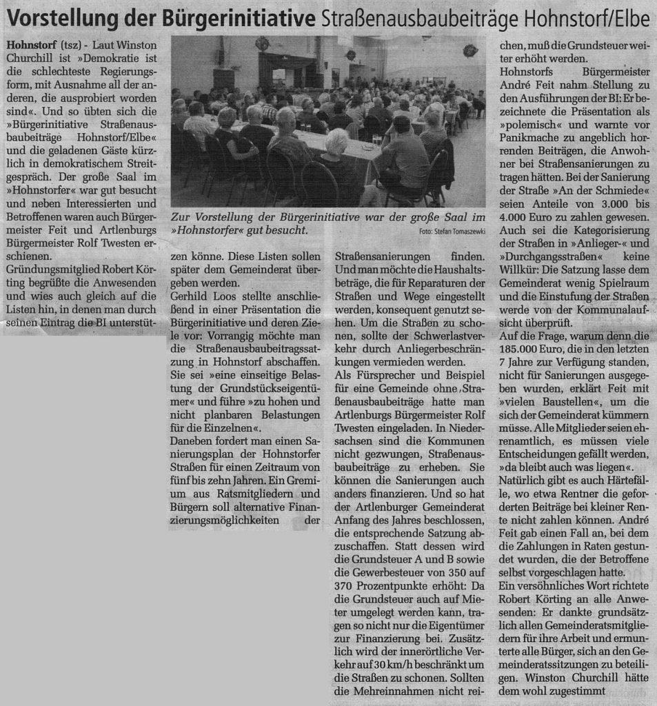 Vorstellung der Bürgerinitiative Straßenausbaubeiträge Hohnstorf/Elbe