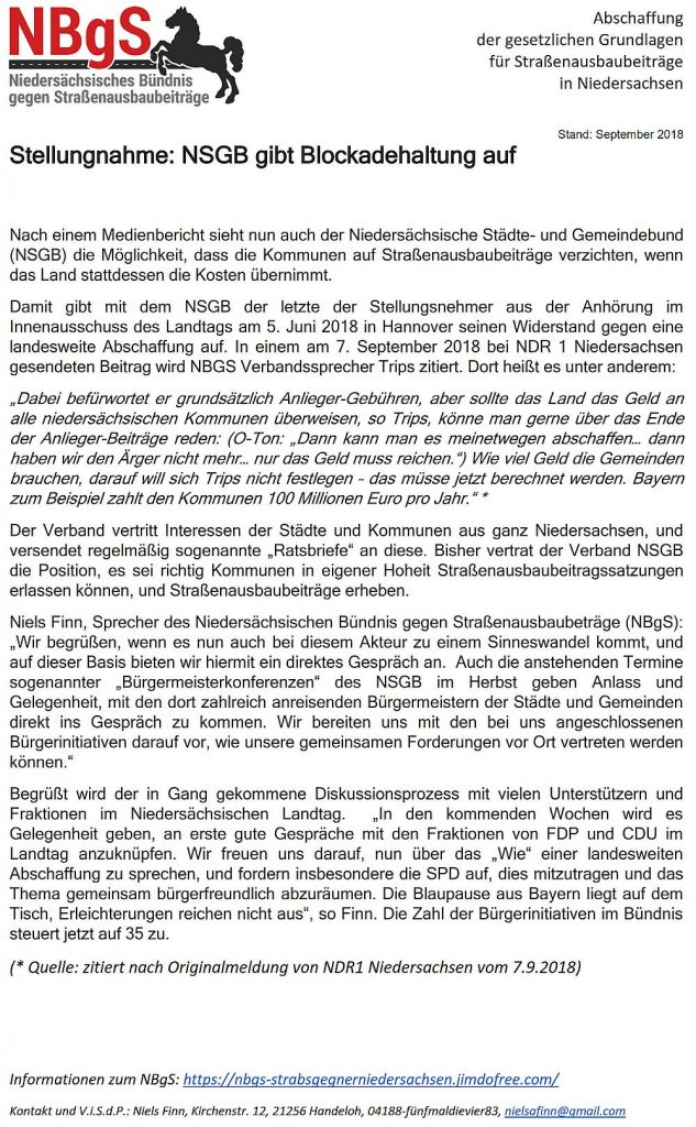 NBgS - Positionsänderung NSGB vom 10.09.2018