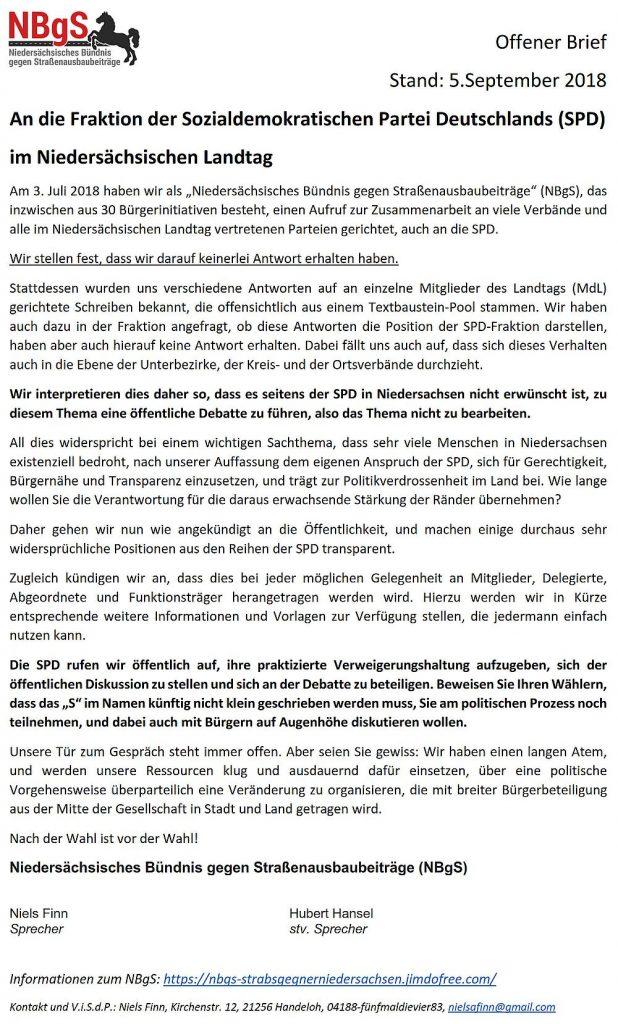 Offener Brief SPD vom 05.09.2018