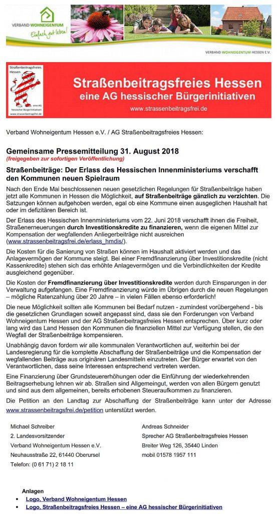 Pressemitteilung - AG Straßenbeitragsfreies Hessen vom 31.08.2018