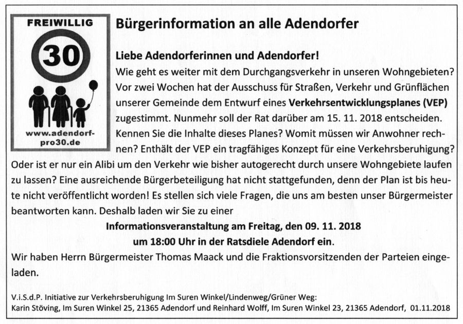 Bürgerinformation an alle Adendorfer - Adendorf-Pro30