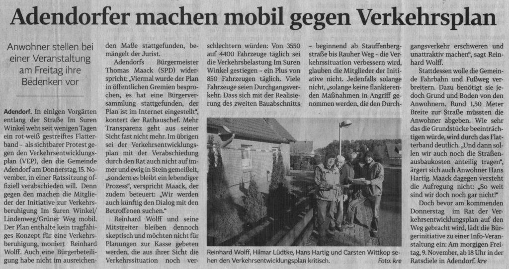 Adendorfer machen mobil gegen Verkehrsplan