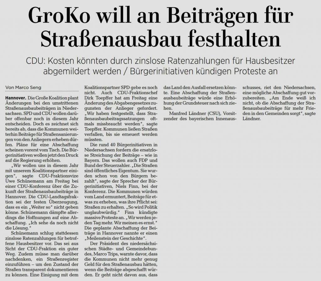 GroKo will an Beiträgen für Straßenausbau festhalten