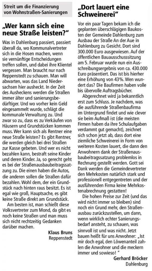 Streit um die Finanzierung von Wohnstraßen-Sanierungen