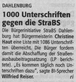 1000 Unterschriften gegen die StraBS