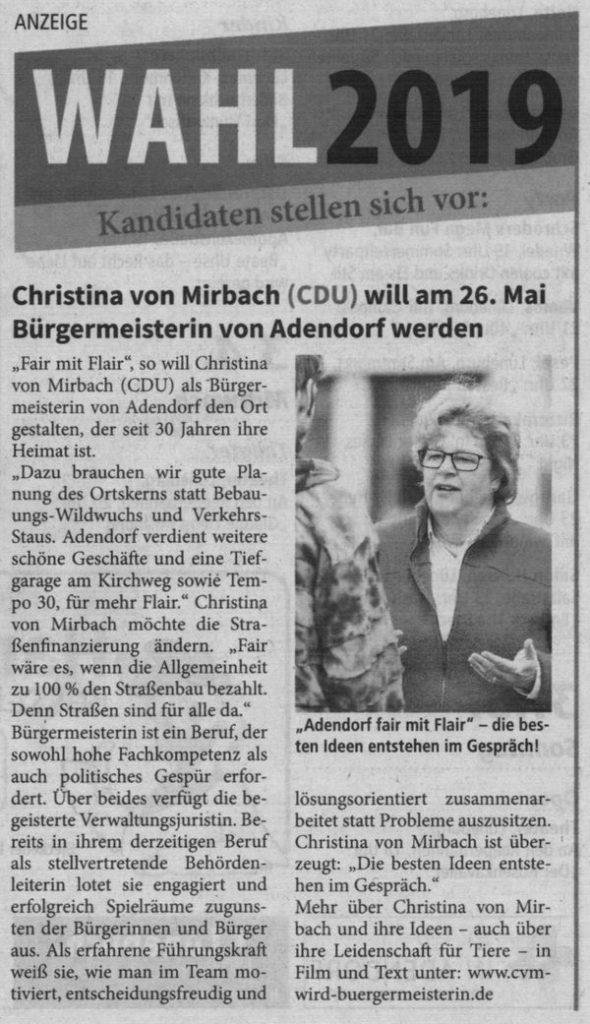 Christina von Mirbach (CDU) will am 26. Mai Bürgermeisterin von Adendorf werden