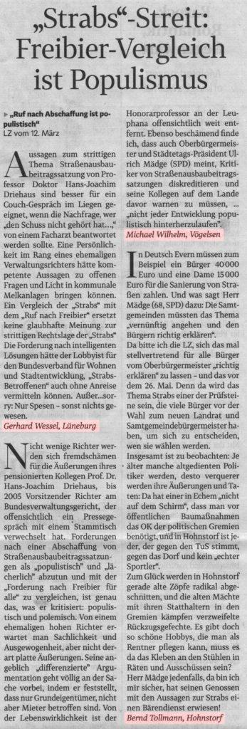 """""""Strabs""""-Streit: Freibier-Vergleich ist Populismus"""