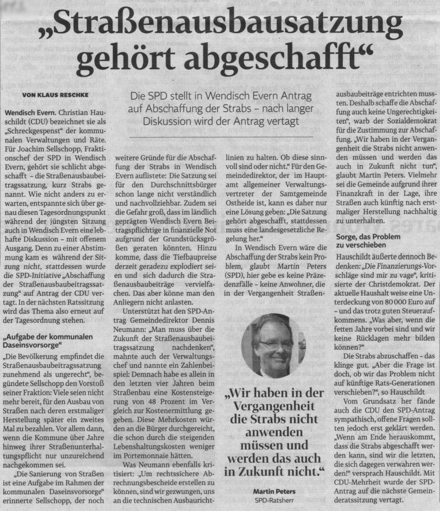 """""""Straßenausbausatzung gehört abgeschafft"""""""