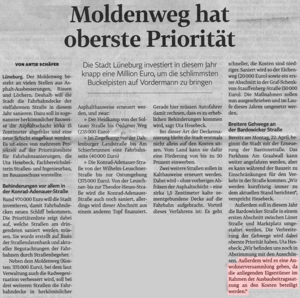 Moldenweg hat oberste Priorität
