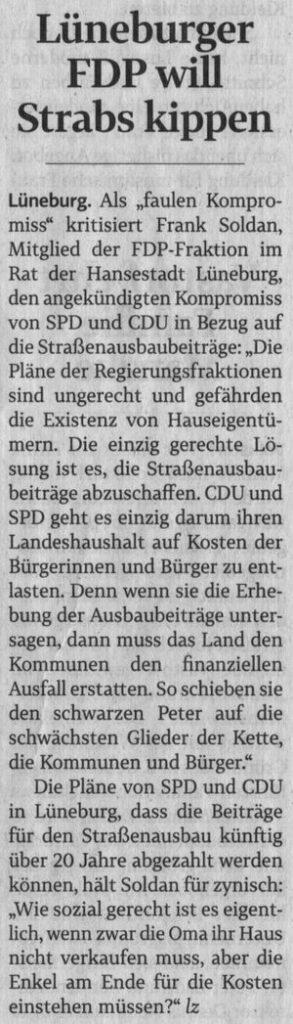 Lüneburger FDP will Strabs kippen