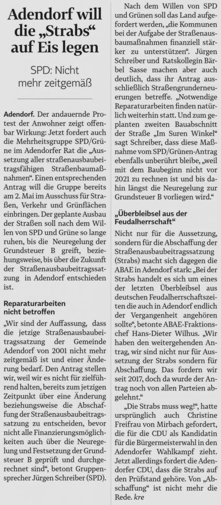 """Adendorf will die """"Strabs"""" auf Eis legen"""