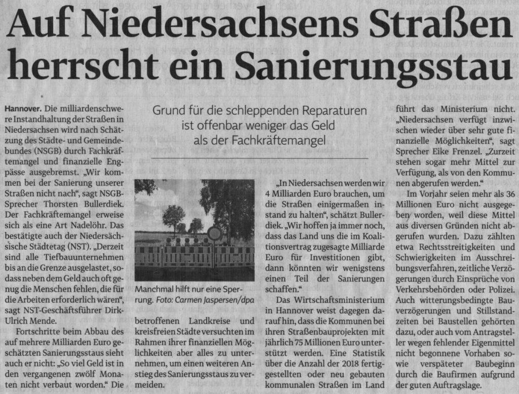 Auf Niedersachsens Straßen herrscht ein Sanierungsstau