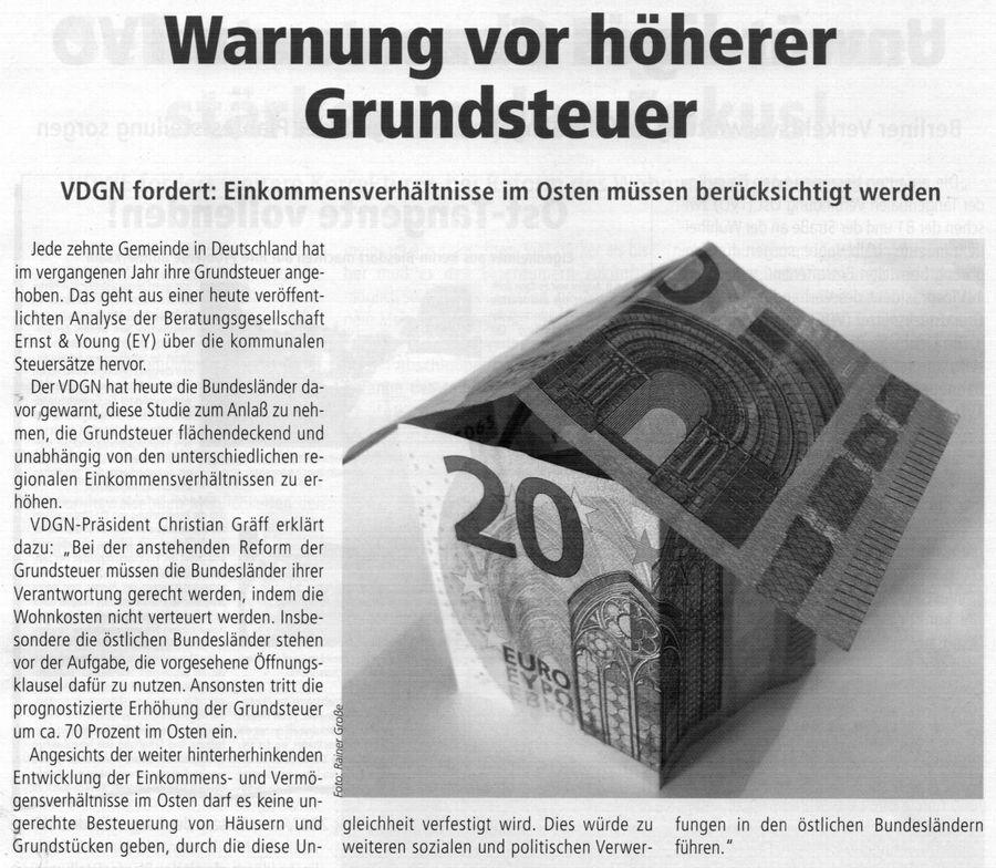 Warnung vor höherer Grundsteuer