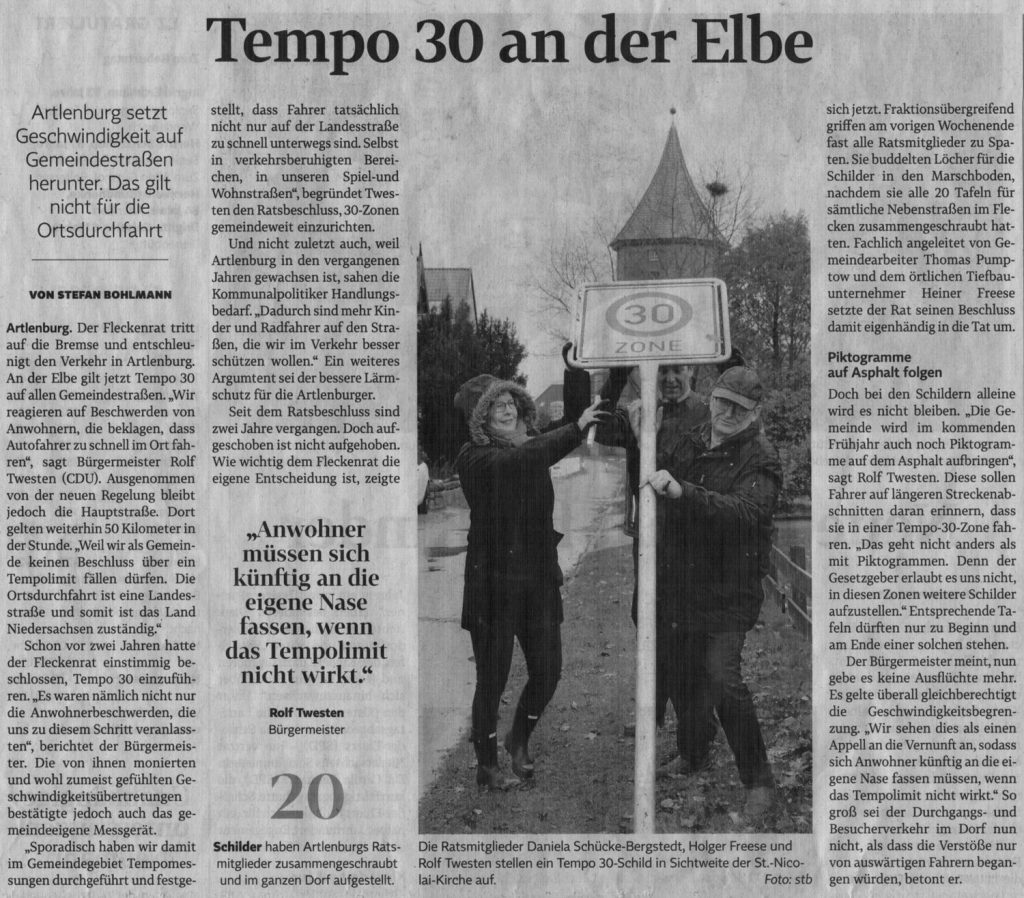 Tempo 30 an der Elbe