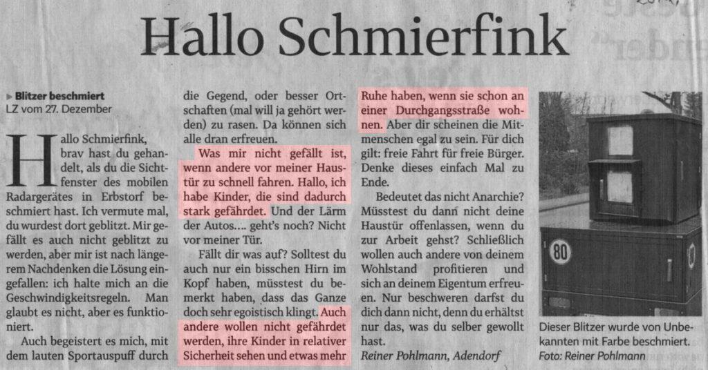 Hallo Schmierfink