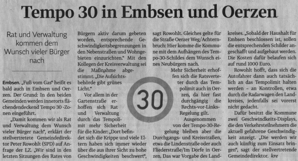 Tempo 30 in Embsen und Oerzen