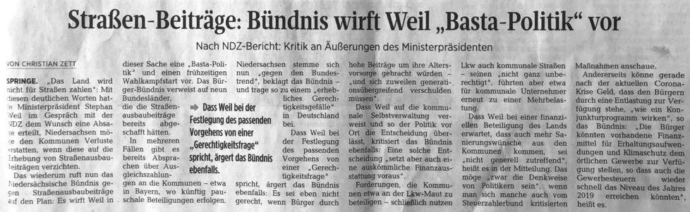 """Straßen-Beiträge: Bündnis wirft Weil """"Basta-Politik"""" vor"""