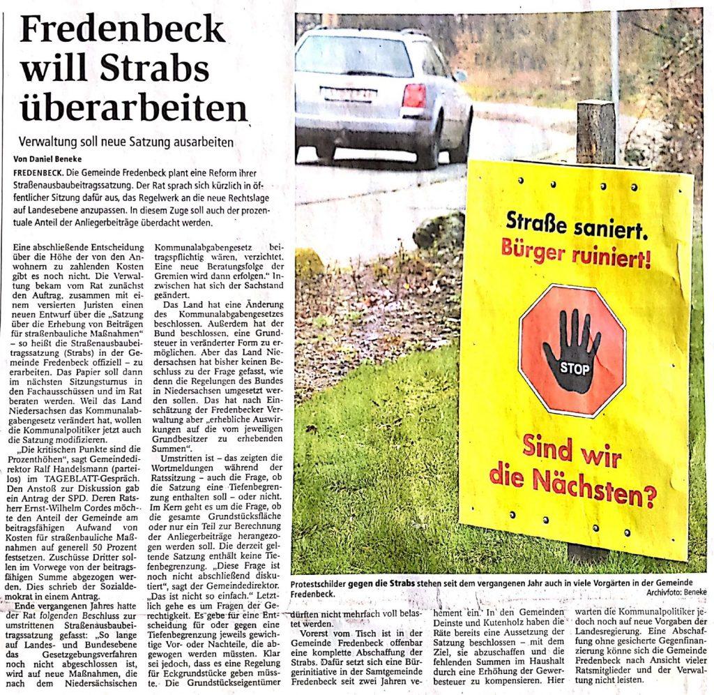 Fredenbeck will Strabs überarbeiten