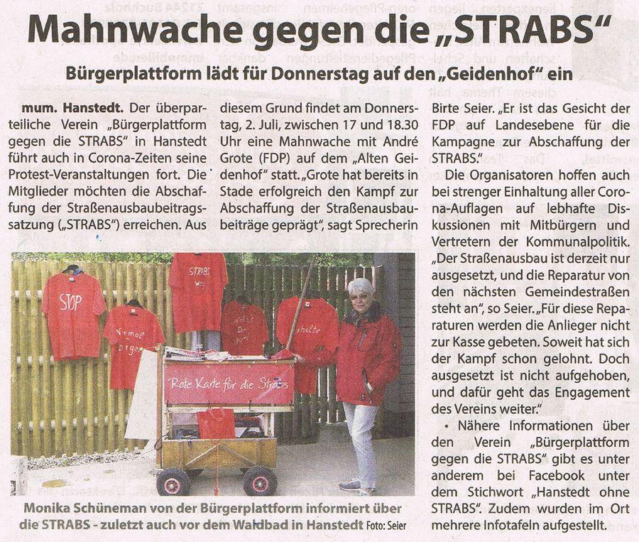 """Mahnwache gegen die """"STRABS"""""""