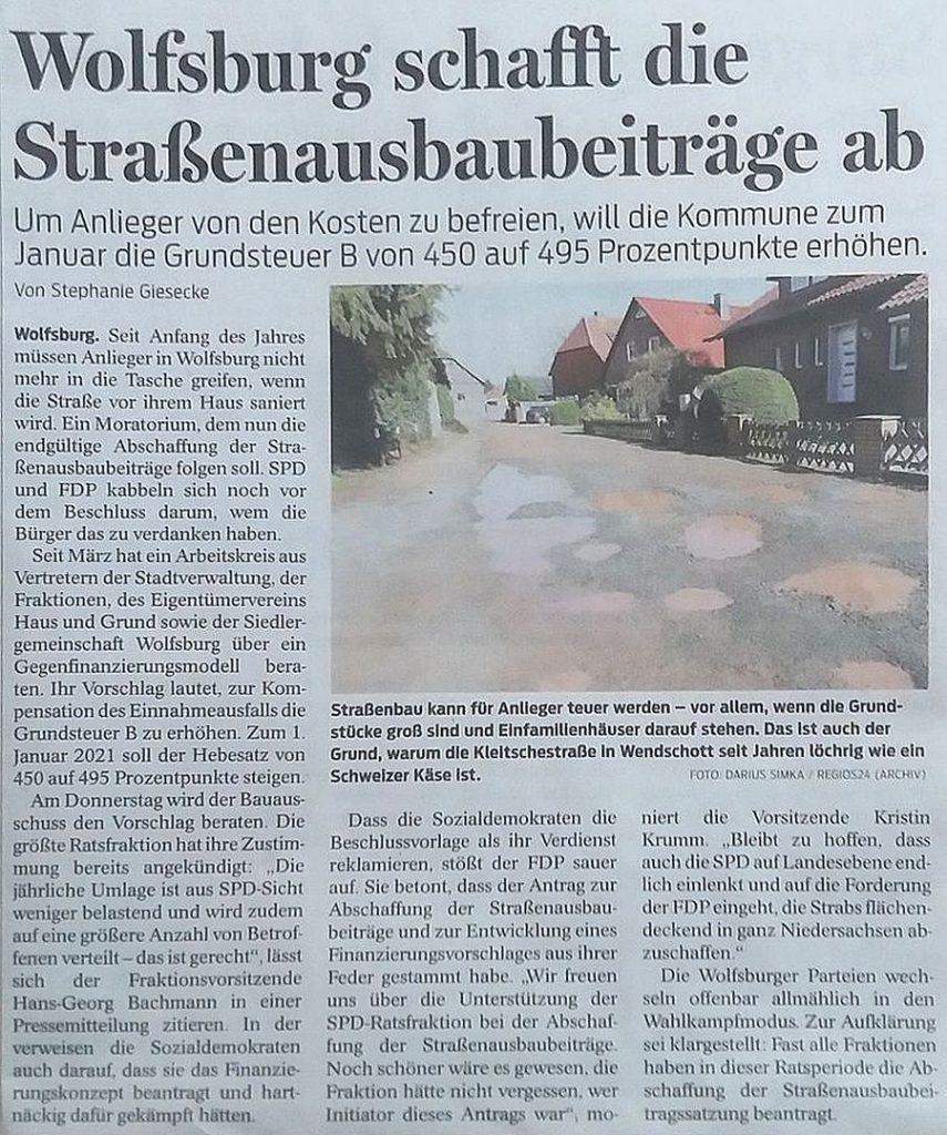 Wolfsburg schafft die Straßenausbaubeiträge ab