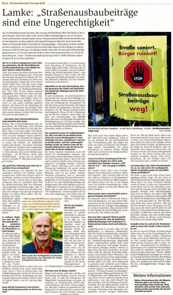 """Lamke: """"Straßenausbaubeiträge sind eine Ungerechtigkeit"""""""