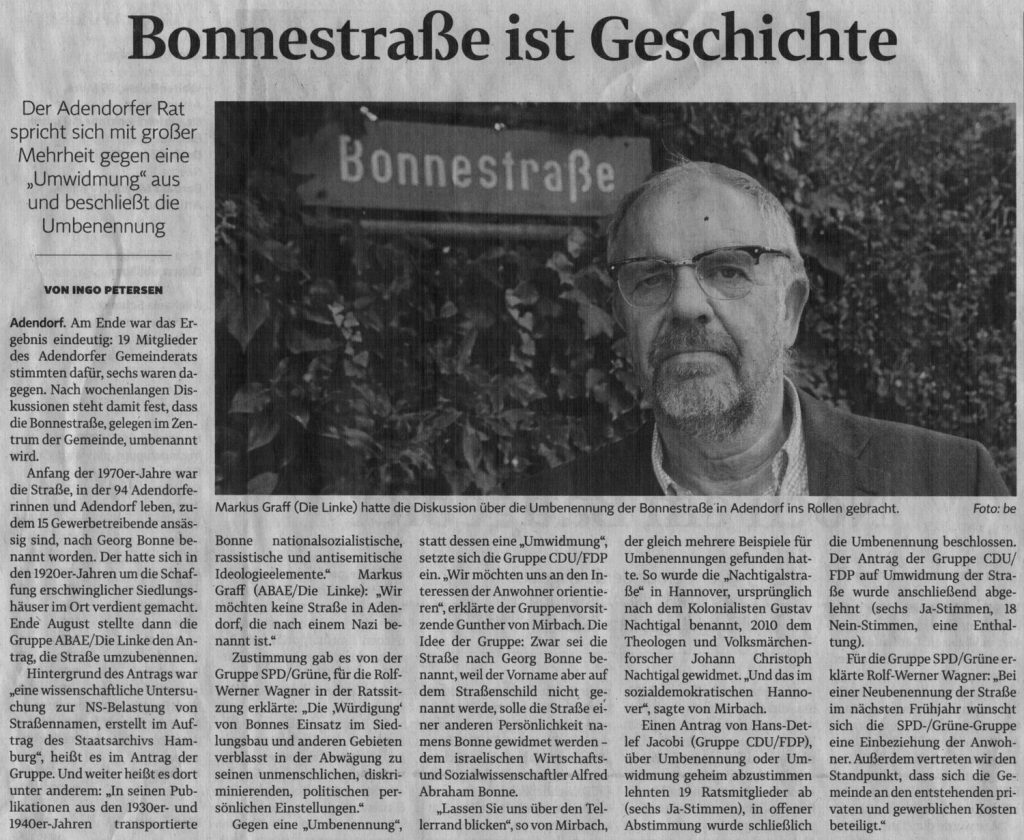 Bonnestraße ist Geschichte